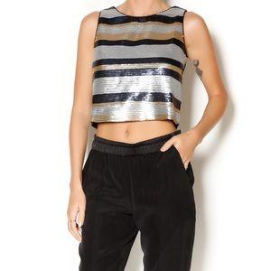 New Lucy Paris Sequin Crop Top Size XS